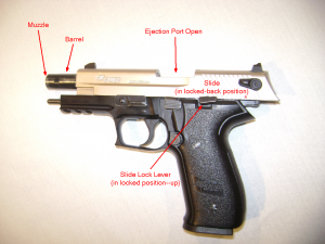 Semi-Automatic pistol with slide locked open. Exposes barrel and opens ejection port